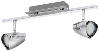 Corbera Retro Chrome 2 Lamp LED Ceiling Spot Light Bar