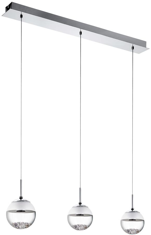 Modern 3 Light Crystal Filled Glass LED Pendant