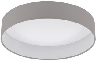 Medium Taupe Fabric Circle LED Flush Ceiling Light