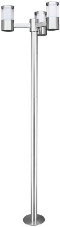 Basalgo Modern Stainless Steel 3 Head LED Lamp Post
