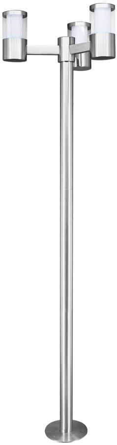 Basalgo Modern Stainless Steel 3 Head LED Lamp Post