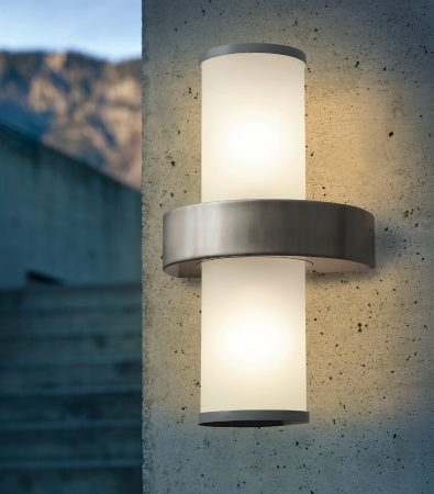 Eglo Beverly Stainless Steel Outdoor Wall Light Cylinder Shade