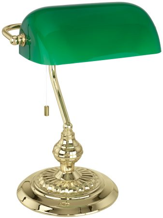 Traditional Polished Brass Banker Desk Lamp With Green Shade