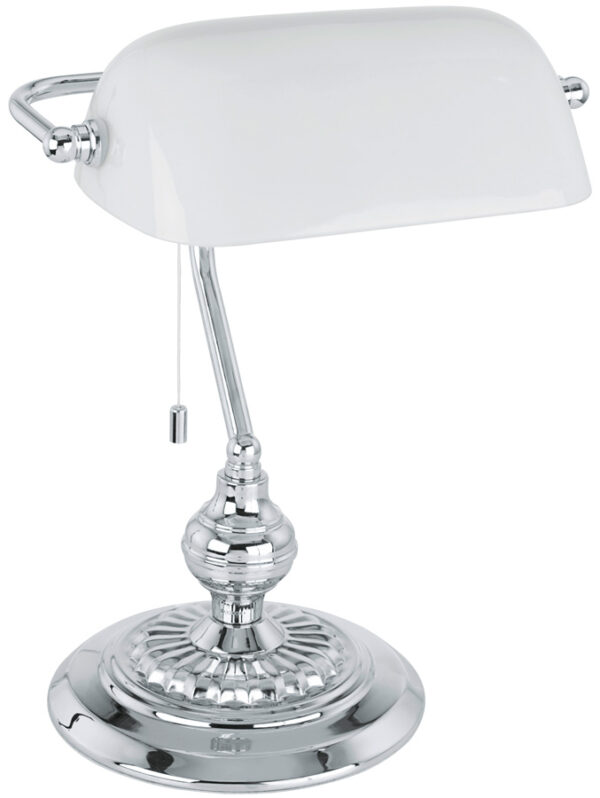 Traditional Chrome Banker Desk Lamp With White Shade