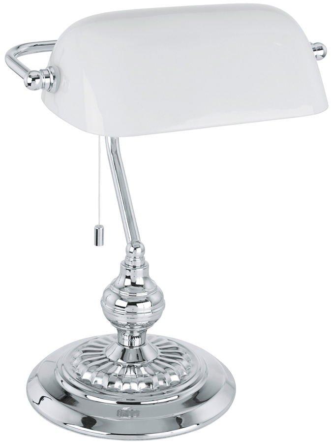 Traditional Chrome Banker Desk Lamp With White Shade 90968