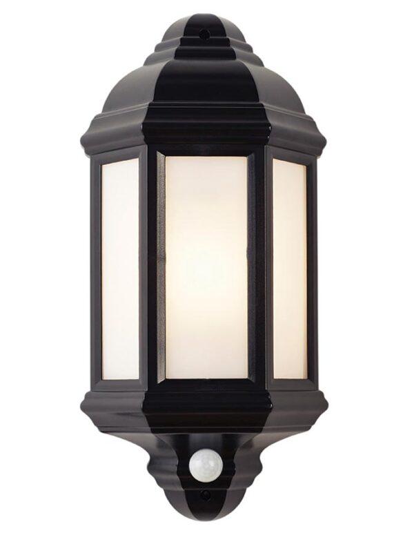 Halbury Traditional 60w Outdoor PIR Half Wall Lantern Black