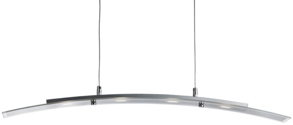 Modern Satin Silver Curved LED Ceiling Pendant Light