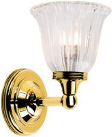 Austen Traditional Brass Bathroom Wall Light Fluted Shade