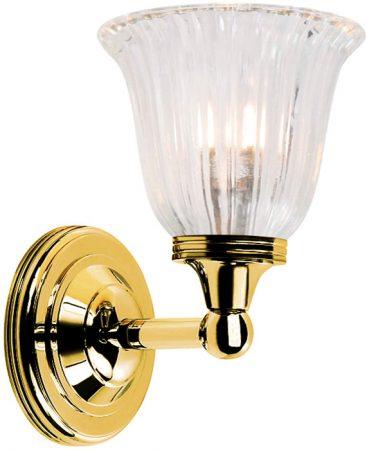 Austen Traditional Brass Bathroom Wall Light Fluted Shade