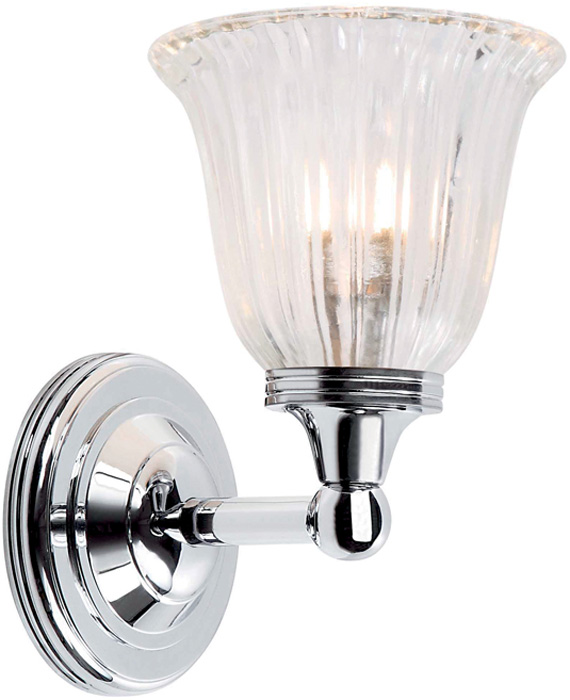 Traditional Chrome Wall Lights : Austen Traditional Chrome Bathroom Wall Light Fluted Shade BATH/AUSTEN1/PC