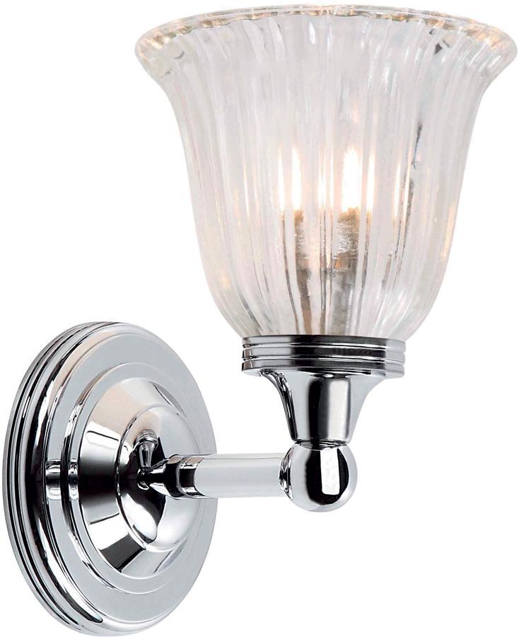 Traditional Bathroom Wall Lamps : Austen Traditional Nickel Bathroom Wall Light Fluted Shade BATH/AUSTEN1/PN