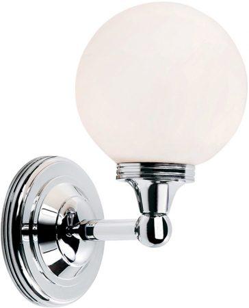 Elstead Austen Polished Chrome Bathroom Wall Light Opal Globe Shade