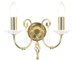 Elstead Aegean Hand Forged Polished Brass 2 Lamp Wall Light