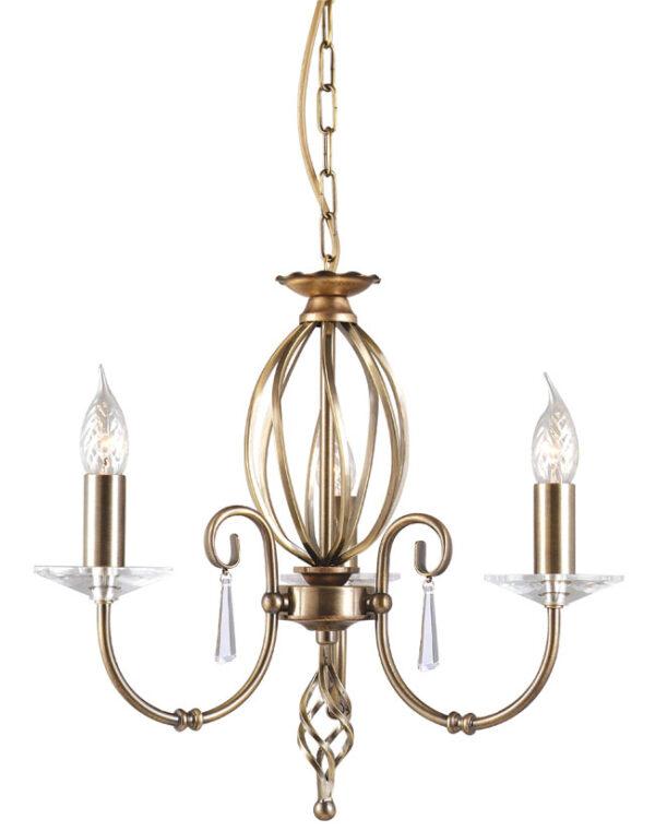 Elstead Aegean Aged Brass 3 Light Dual Mount Small Chandelier