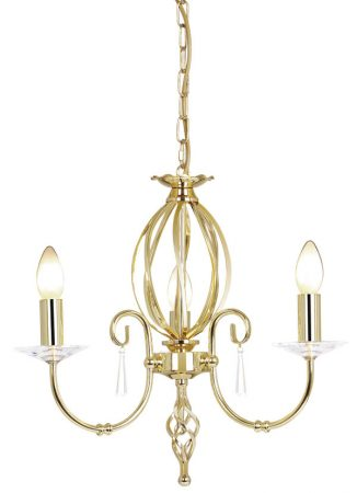 Elstead Aegean Polished Brass 3 Light Dual Mount Small Chandelier