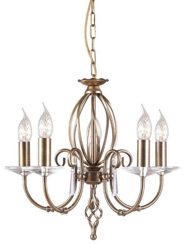 Elstead Aegean Dual Mount 5 Light Aged Brass Chandelier