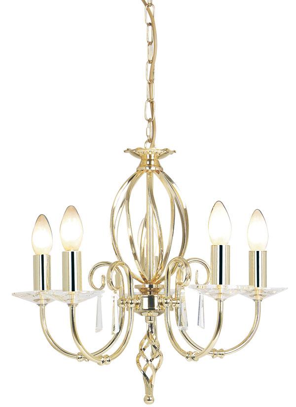 Elstead Aegean Dual Mount 5 Light Polished Brass Chandelier
