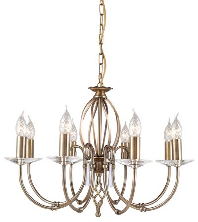 Elstead Aegean Dual Mount 8 Light Aged Brass Chandelier