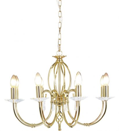 Elstead Aegean Dual Mount 8 Light Polished Brass Chandelier