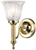 Carroll Edwardian Brass Bathroom Wall Light Fluted Shade