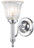 Carroll Edwardian Chrome Bathroom Wall Light Fluted Shade