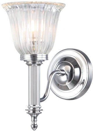 Carroll Edwardian Nickel Bathroom Wall Light Fluted Shade