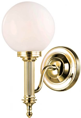 Carroll Traditional Brass Bathroom Wall Light Globe Shade