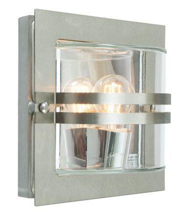 Bern Art Deco Clear Glass Outdoor Wall Lantern Stainless Steel