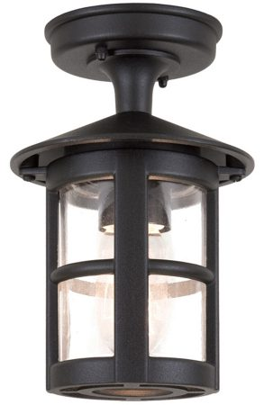 Elstead Hereford Traditional Flush Outdoor Porch Lantern Black