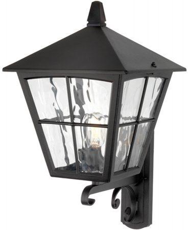 Edinburgh 1 Light Upward Outdoor Wall Lantern Black Rippled Glass IP43