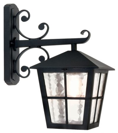 Elstead Canterbury Grande Outdoor Wall Lantern Black Rippled Glass