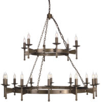 Cromwell Very Large Gothic 18 Light Bronze Cartwheel Chandelier
