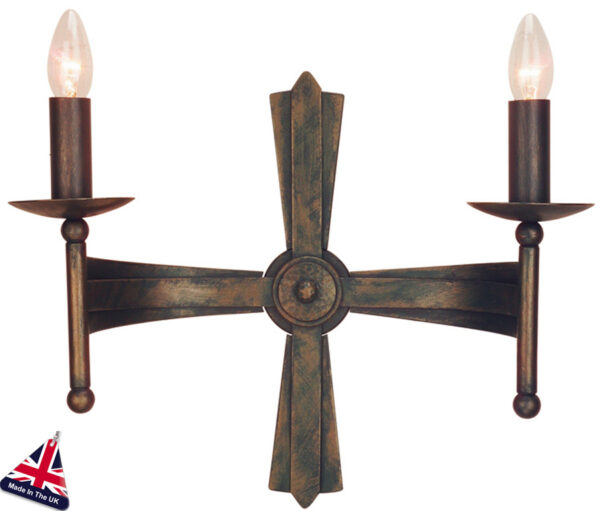 Elstead Cromwell Bronze Wrought Iron 2 Light Gothic Wall Light