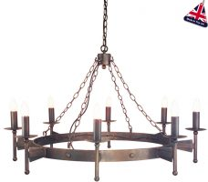 Elstead Cromwell Bronze Carwheel 8 Light Large Gothic Chandelier