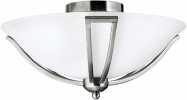 Hinkley Bolla Quality Art Deco Style Flush 2 Light Fitting Satin Nickel
