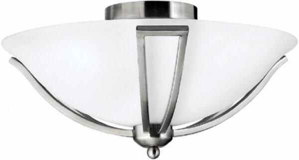 Hinkley Bolla Quality Art Deco Style Flush 2 Light Fitting Satin Nickel