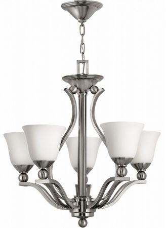 Hinkley Bolla Quality Art Deco Style 5 Light Chandelier Satin Nickel