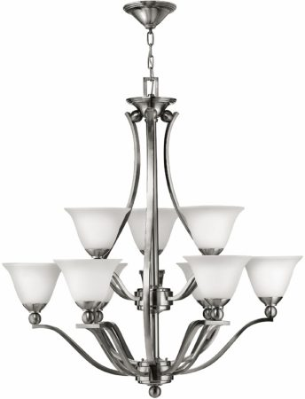 Hinkley Bolla Large Art Deco 9 Light 2 Tier Chandelier Satin Nickel