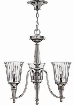Hinkley Chandon Designer 3 Light Chandelier Sterling Silver