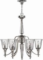 Hinkley Chandon Designer 6 Light Chandelier Sterling Silver