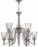 Hinkley Chandon Large 9 Light Tiered Chandelier Sterling Silver