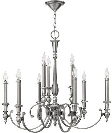 Hinkley Yorktown Large 9 Light Candelabra Chandelier Antique Nickel