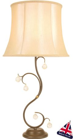 Lunetta Classic Bronze Table Lamp And Shade With Crystal