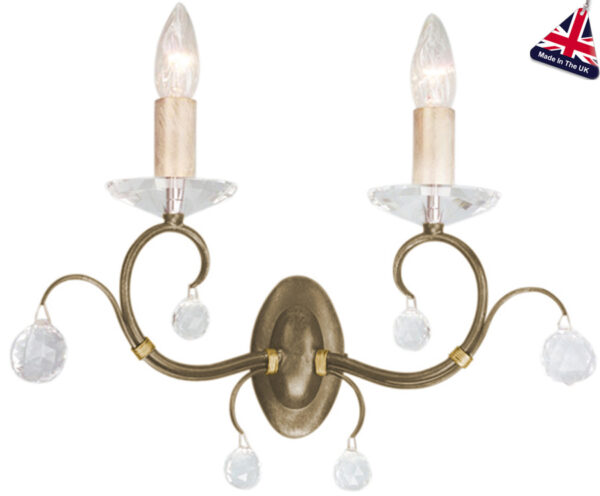 Lunetta Classic Bronze 2 Lamp Wall Light With Crystal