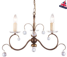 Lunetta Classic Bronze 3 Light Chandelier With Crystal