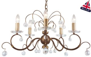 Lunetta Classic Bronze 5 Light Chandelier With Crystal