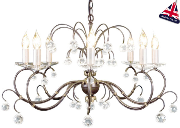 Lunetta Classic Bronze 8 Light Large Chandelier With Crystal