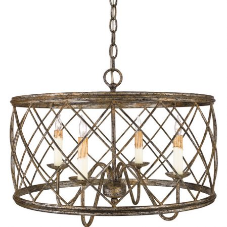 Quoizel Dury 4 Light Caged Ironwork Drum Pendant Silver Leaf