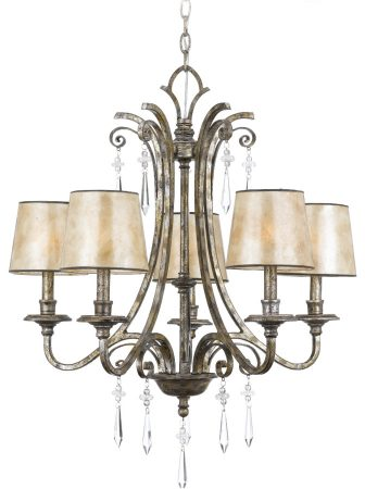 Quoizel Kendra Wrought Iron 5 Light Chandelier Mottled Silver