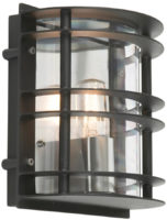 Stockholm Art Deco Flush Clear Outdoor Wall Lantern Black